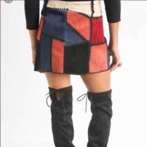 Willow & Clay Patchwork Suede Skirt